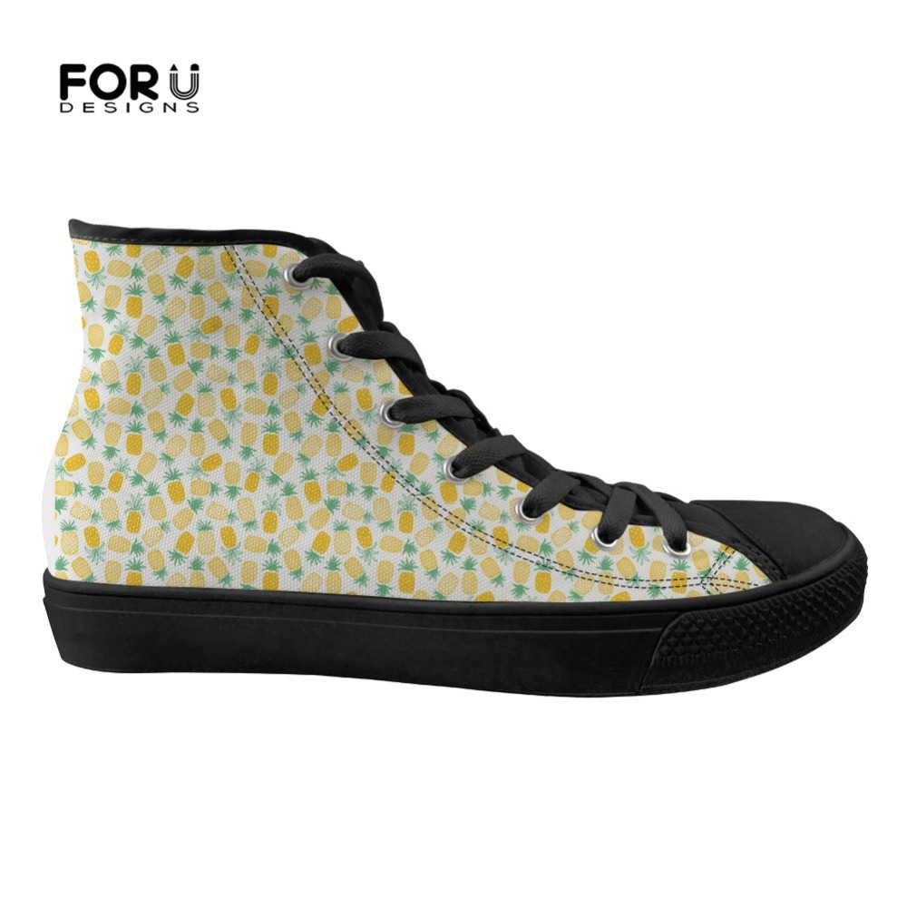 FORUDESIGNS femmes chaussures plates mode ananas Design classique haut toile femmes chaussures femme baskets à lacets pour les filles