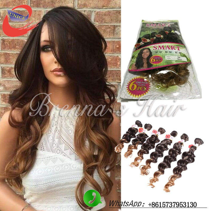 Great Lengths Ombre Brown Hair Extension Loose Curl Human Wave Hair