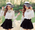 10pcs/lot free shipping korean style woman black and white stripe summer hat women's large brim beach sun-shading straw hat