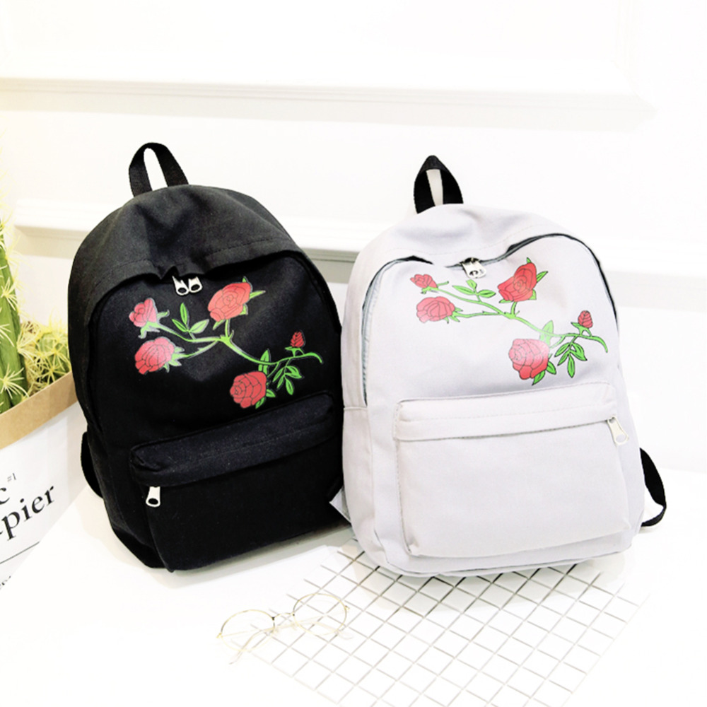 Preppy Chic Women Men Canvas Heart Backpack Cute Women Rose Embroidery Backpacks For Teenagers Women's School Bags Mochilas