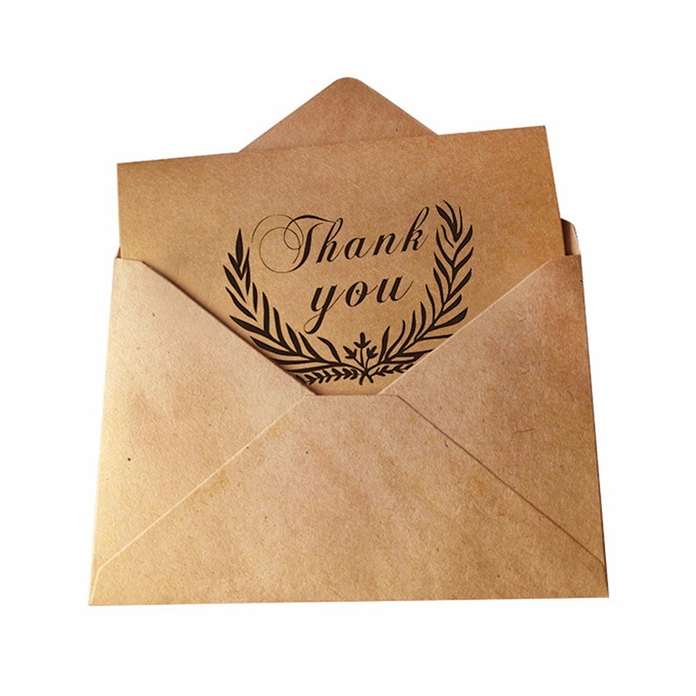 10pcs Vintage Kraft Thank You Cards Birthday Christmas Card Envelope Writing Paper Stationery Wedding Party Diy Greeting In Invitations From