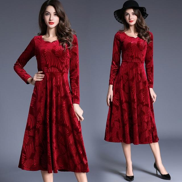 Tingfly Red Velvet Midi Flower Dress Womens Autumn Winter Party Dresses  Long Full Sleeve Elegant Slim A Line Mid-Calf Dress e06112777f60