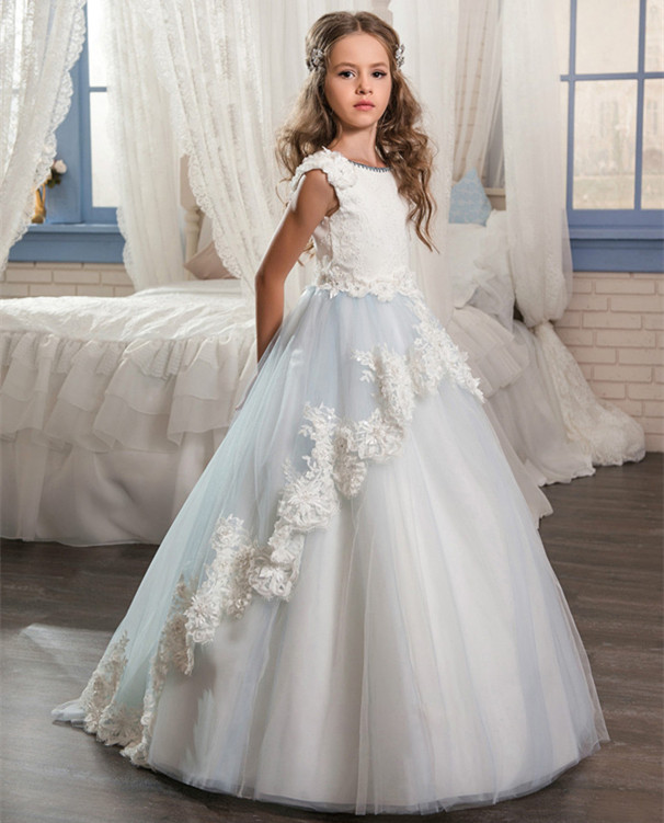 New Sky Blue Ball Gown Flower Girls Dresses Lace Applique Beading Girls Pageant Gown First Communion Dress Size 2-14Y 2017 cheap cute princess flower girls dresses lace applique bow sash ball gown formal wear girls first communion pageant dress