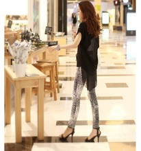 2017 combed cotton snake printed stretch leggings