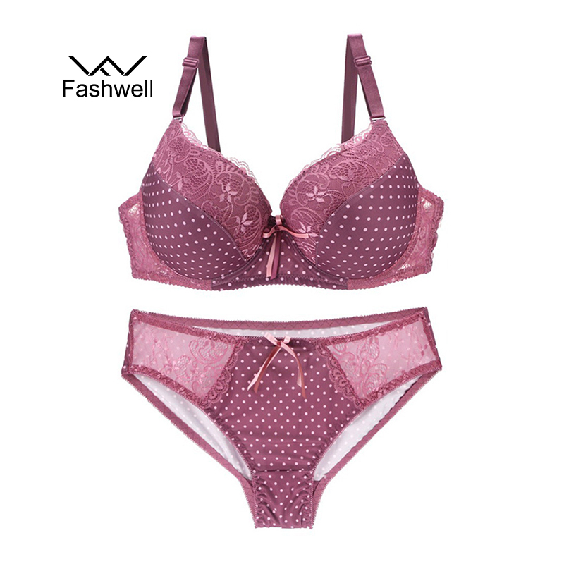 Fashwell Sexy Lace Underwear Set Mesh Embroidery Lingerie Transparent Panty and Bra Sets Deep V Push Up Intimates Women