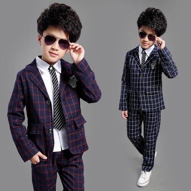 2018 England Style Plaid Kids Clothes Boys Clothing Sets Autumn Boy Baby Wedding Birthday Dress
