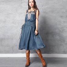Женское джинсовое платье без рукавов длинное винтажное до середины