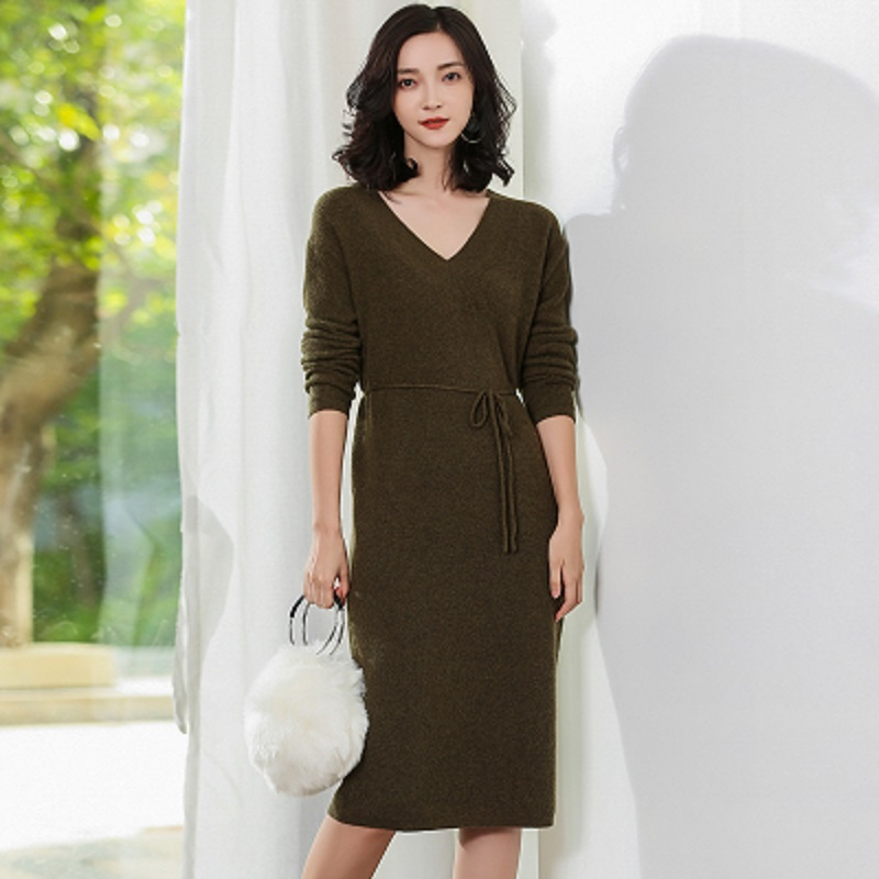 JECH Autumn Winter New V Neck pure Cashmere Sweater Long Dress fashion Solid color Loose women 39 s Sweaters long skirt pullovers in Pullovers from Women 39 s Clothing