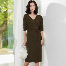 JECH Autumn Winter New V-Neck pure Cashmere Sweater Long Dress fashion Solid color Loose womens Sweaters long skirt pullovers