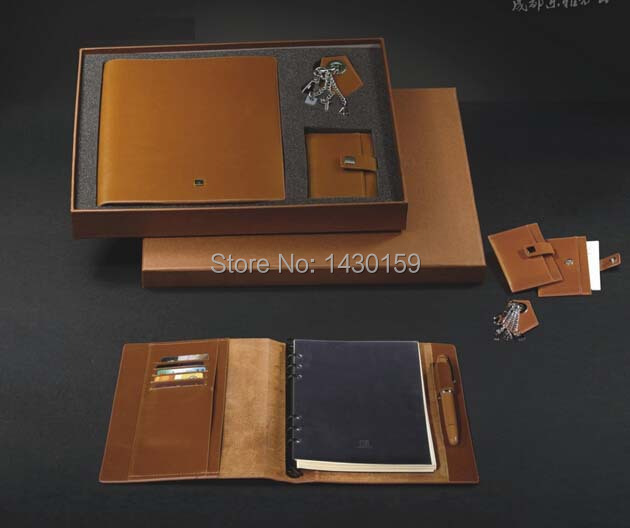 US $5600 0 |Business Leather corporate Gift set Corporate Spiral notebook  Set, corporate Business gifts set with credit card holder and pen-in