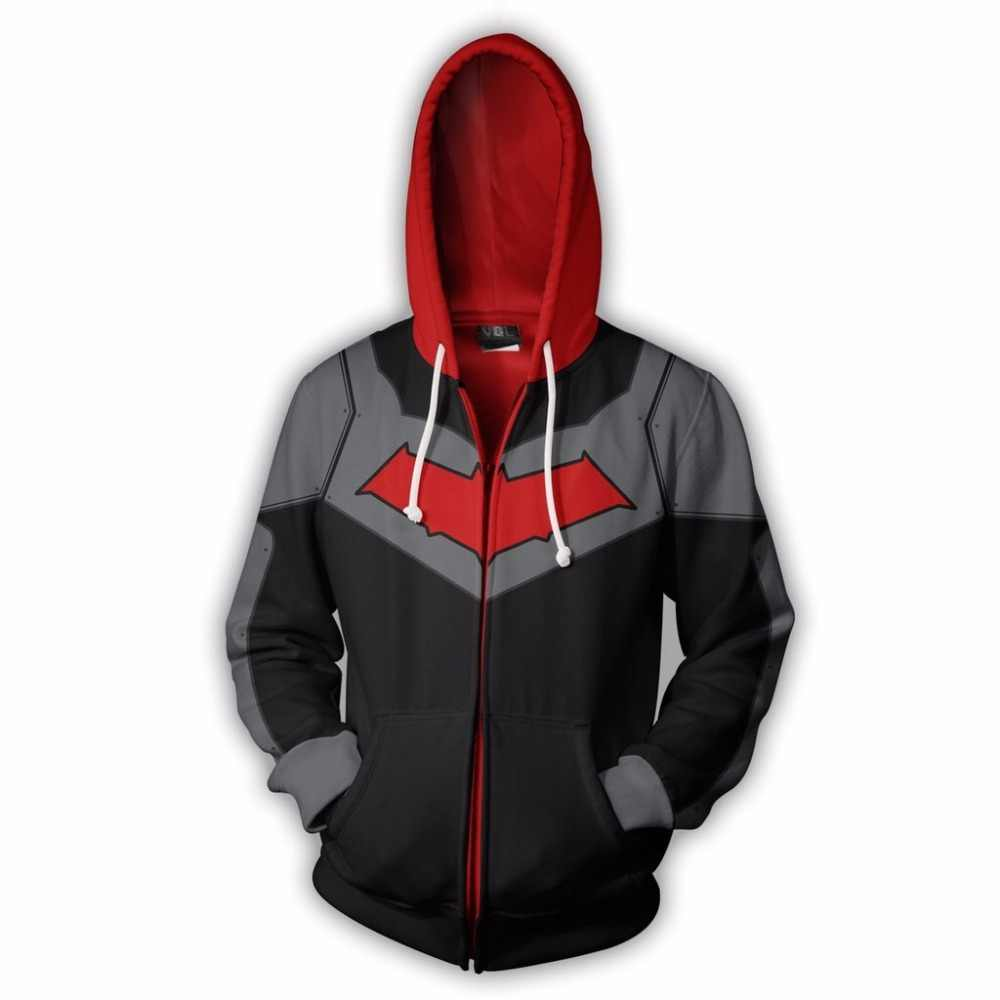 2019 nieuwe Mannen Hooded Rode Kap Zip Up Hoodie 3D Gedrukt Hoodies Casual Trainingspak rits hoodie hooded US grootte hip hop tops