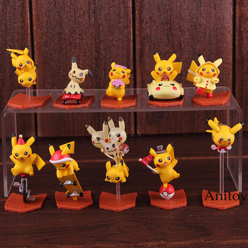 Cartoon Cute Pikachu & Mimikyu Toy Mini PVC Anime Action Figure Collectible Model Kids Toys for Boys Girls 10pcs/setCartoon Cute Pikachu & Mimikyu Toy Mini PVC Anime Action Figure Collectible Model Kids Toys for Boys Girls 10pcs/set