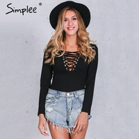 Simplee Criss Cross Lace Up Jumpsuit Romper Women Sexy V Neck Bandage Bodysuit Overalls Autumn Winter