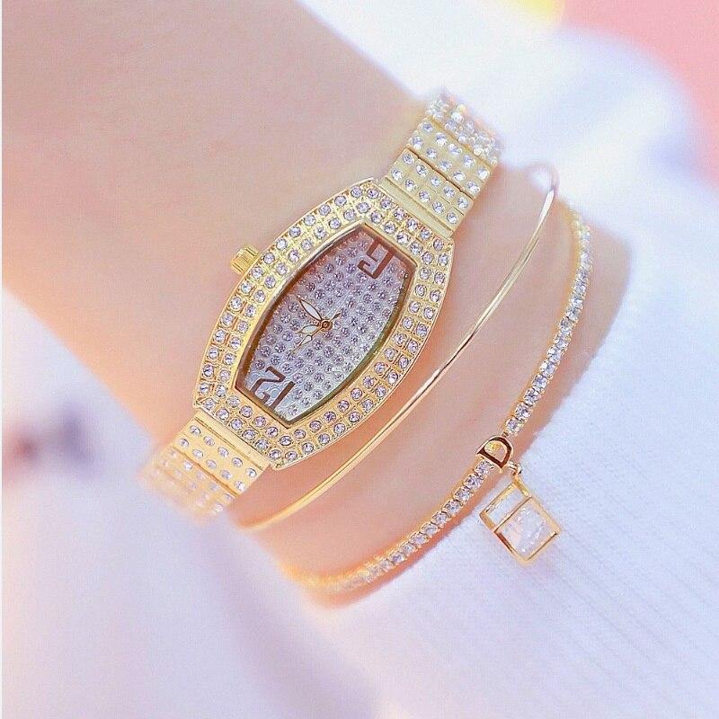 BS Top Brand Diamond Barrel Type Dial Women Watches Ladies Watch Girl Fashion Bracelet Quartz Gold Filled Watch Zegarek Damski