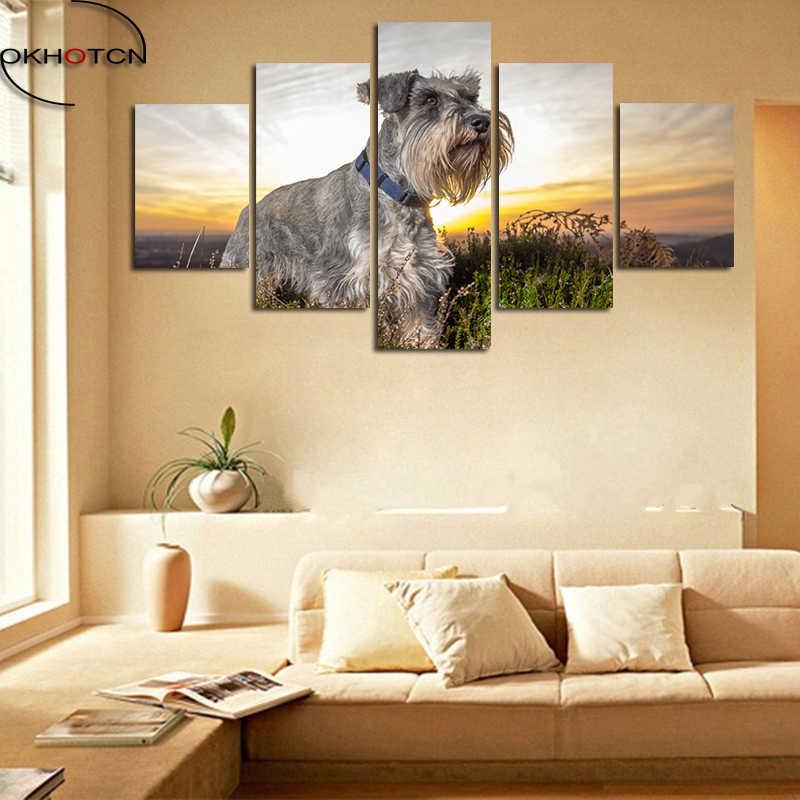 Стандартный Шнауцер Современные Холст 5 шт./компл. животные пейзаж живопись модульные плакат картина Гостиная домашний декор