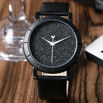 Chic Moon Hands Blooming Glitter Dial Analog Watch Women Casual Wrist Watch Simple Elegant Wristwatches Montre Femme  analog watch