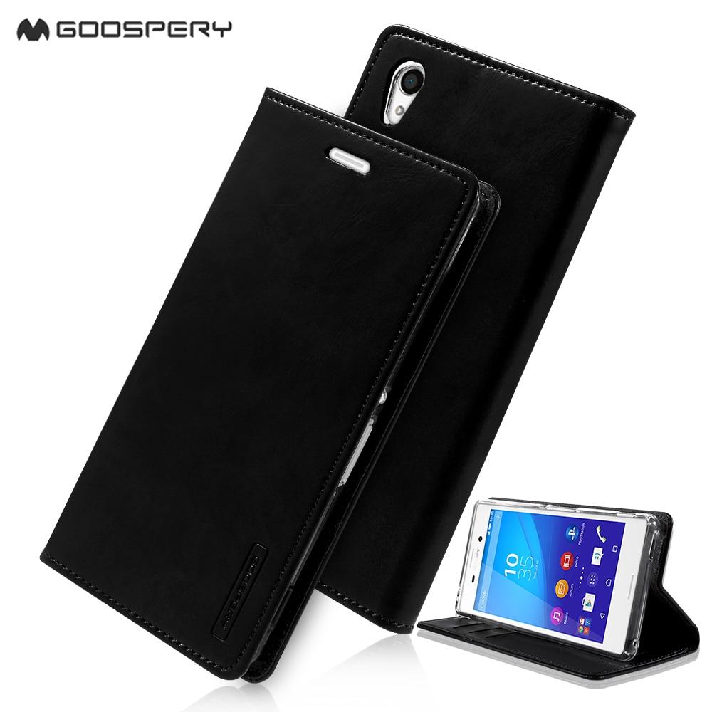 fundas capa coque for Sony Xperia M 4 Aqua Leather Cases MERCURY GOOSPERY Blue Moon Leather