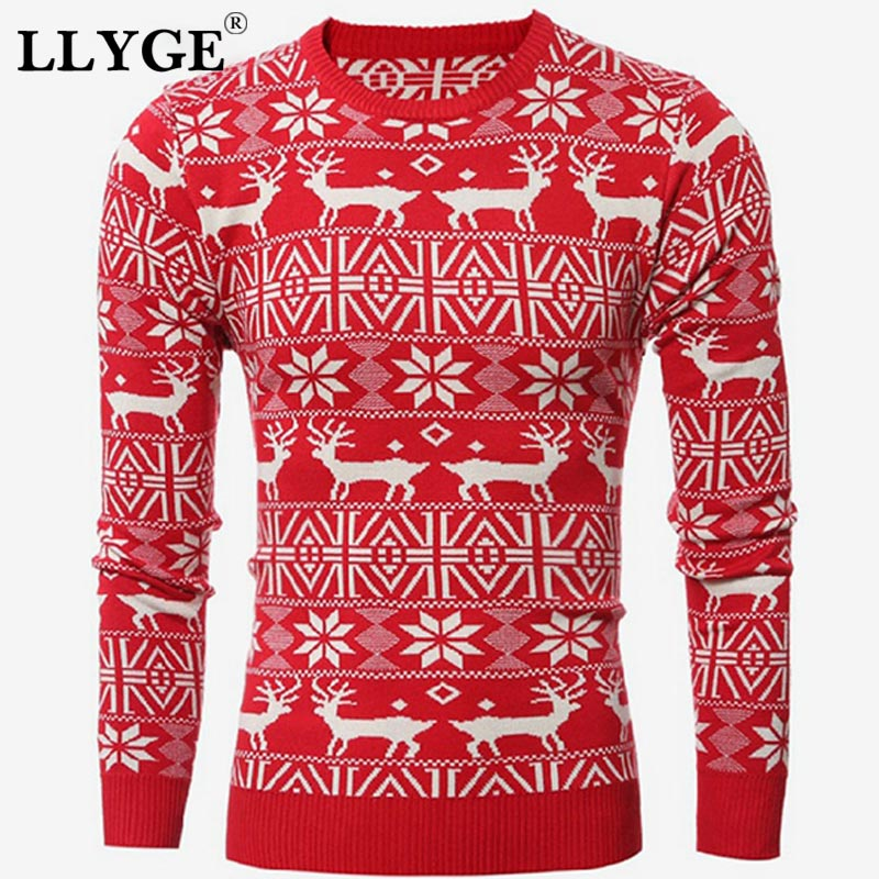 2019 Winter Christmas Men Sweater Deer Printed Long Sleeve Warm Knitted Pullover Men's Casual Slim Fit O-Neck Thick Sweater Tops