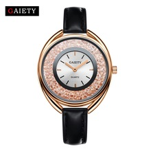 Luxury Brand Gold Watches Women Fashion Casual Black Leather Crystal Bracelet Bangle Dress Quartz Watch Women's Wristwatches