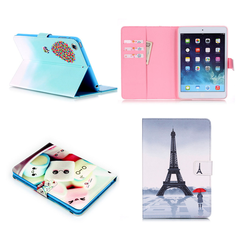 New YB Paris Eiffel Tower Smart Stand PU Leather case For apple Ipad Mini 1 2 3 Retina Lovely Eye Holder Cover