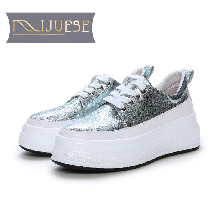 MLJUESE 2019 ผู้หญิง Sheepskin ลูกไม้สีฟ้าสี loafers ลำลองรองเท้า creeper รองเท้าขนาด 34 42 party ชุด-ใน รองเท้าส้นเตี้ยสตรี จาก รองเท้า บน   2