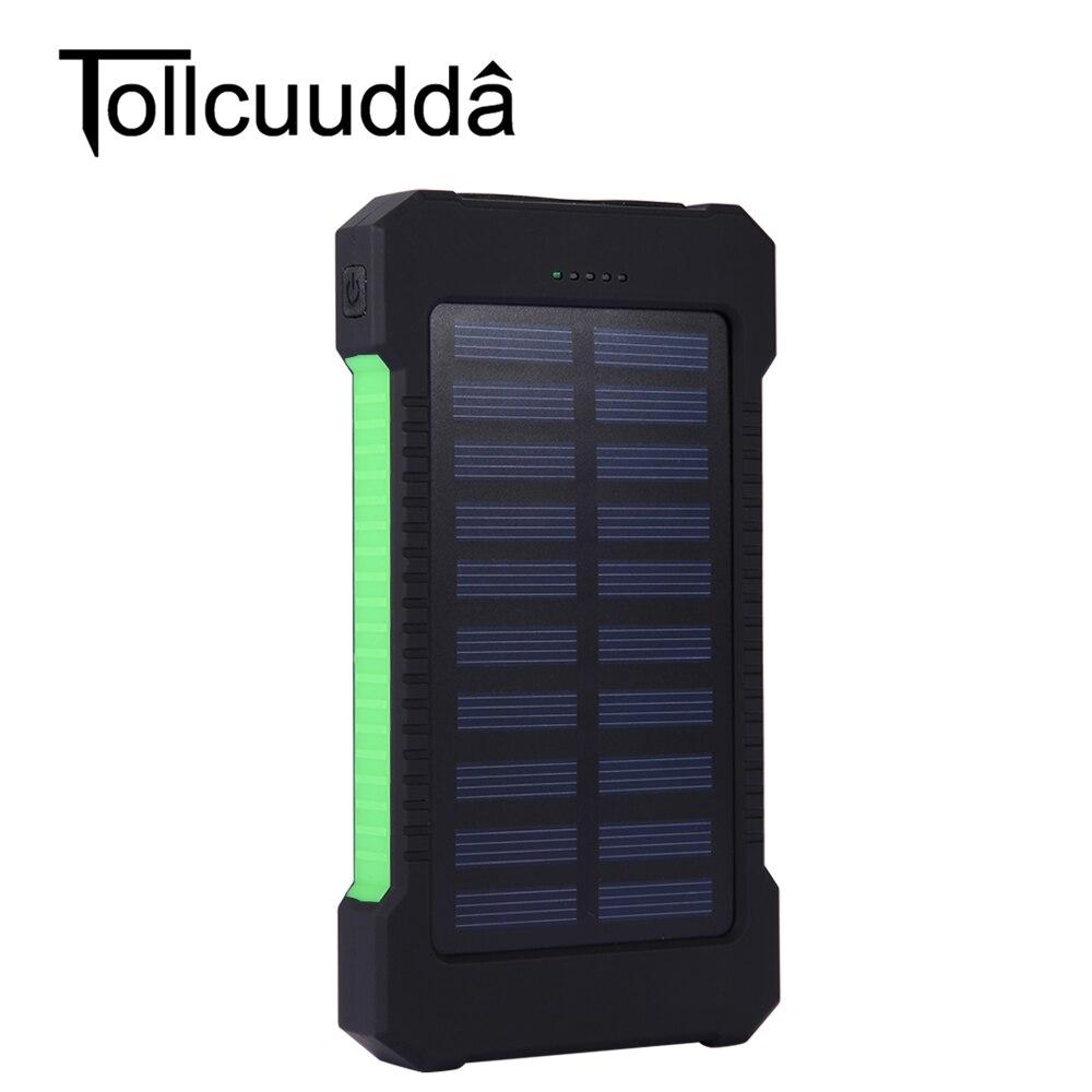 Tollcuudda impermeable 10000 mah banco de la energía solar cargador solar dual usb banco de la energía con la luz llevada para el iphone 6 plus móvil teléfono