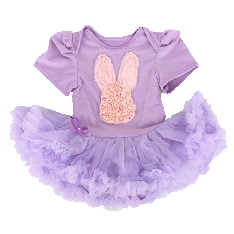 Happy Easter Hare Rabbit Applique Purple Baby Rompers Lace
