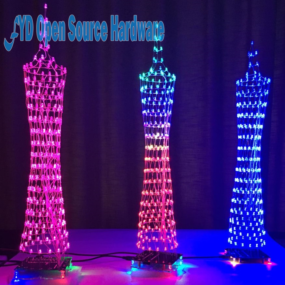 Upgraded Diy 16x16 Dot Matrix Led Light Cu Be Canton Tower Suite Rotating Electronic Kit Circuit Board Creative Design Display 1set Guang Zhou Rhythm Lamp With Infrared Remote Control Kits Soldering