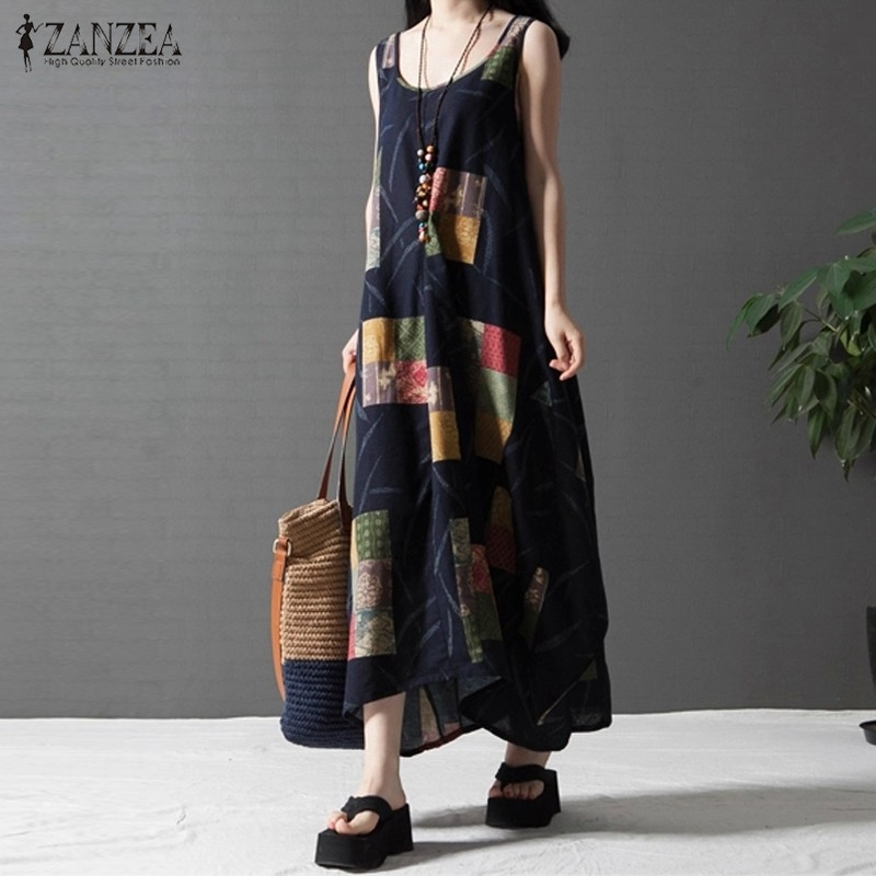 ZANZEA 2016 Summer Women Casual Loose Dress Sleeveless Vintage Printed Long Maxi Linen Beach Dresses Retro