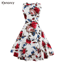 Women Summer Dress 2016 Plus Size Vintage Floral Print 50s 60s Style Dress Women O