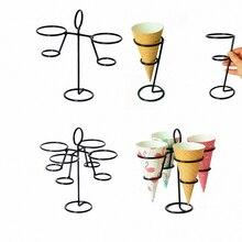 3 вида стилей витрина для мороженого для витрины, черный железный конус, держатель для мороженого, конус, сверхмощный, для выпечки кексов, украшения