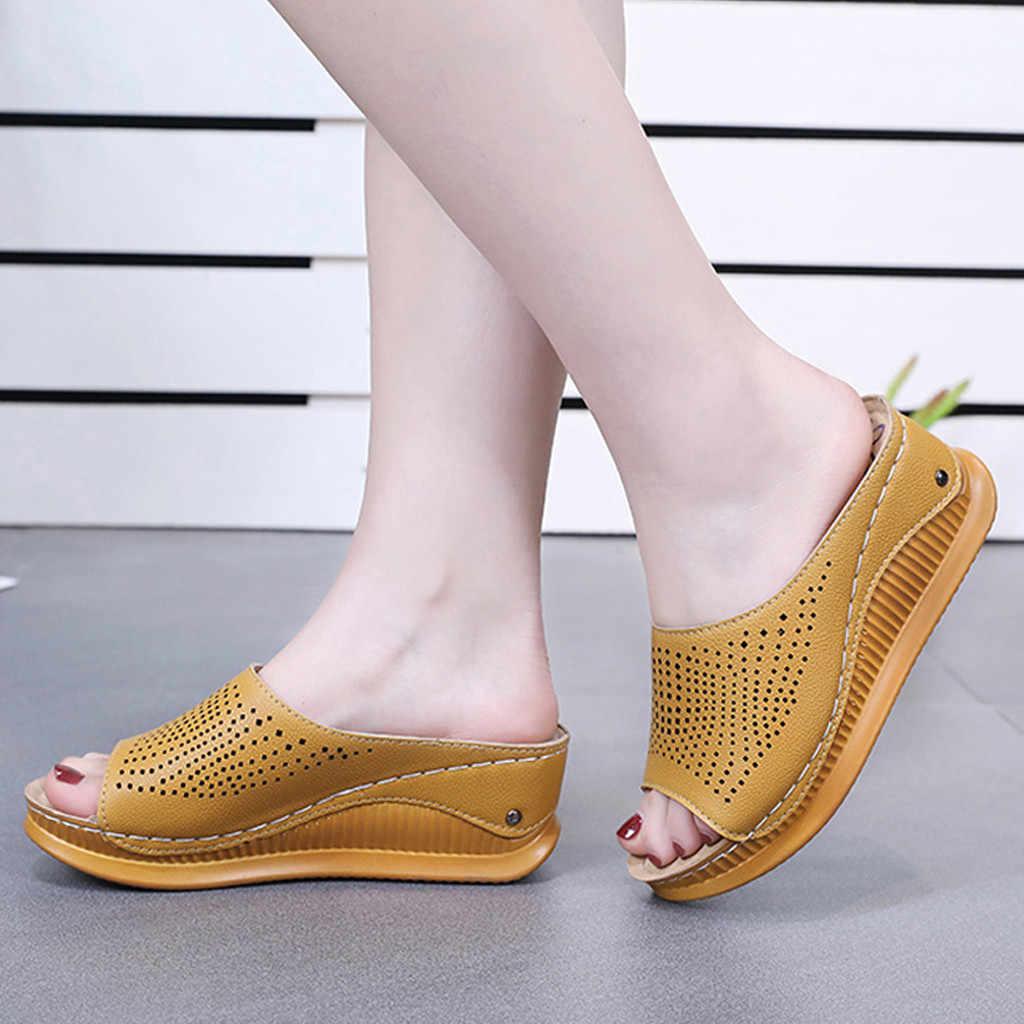 ผู้หญิงเปิดนิ้วเท้าหนาด้านล่างรองเท้าแตะฤดูร้อน Hollow Out Breathable Wedges ลื่นบนสไลด์แฟชั่นรองเท้าปลาปาก