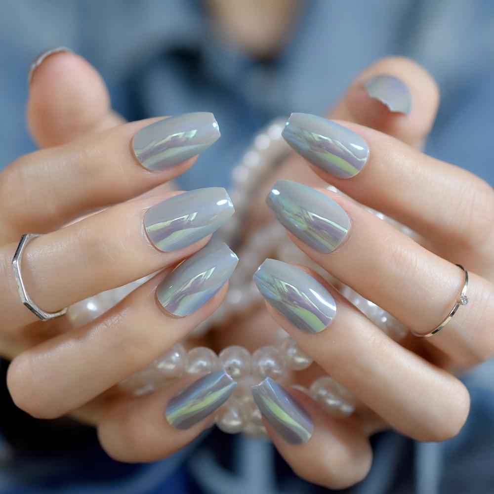 Chameleon Mirror Coffin Fake Nails Square Light Grey Holographic Medium Lady Finger Fake Tips Daily Wear 24pcs/kit