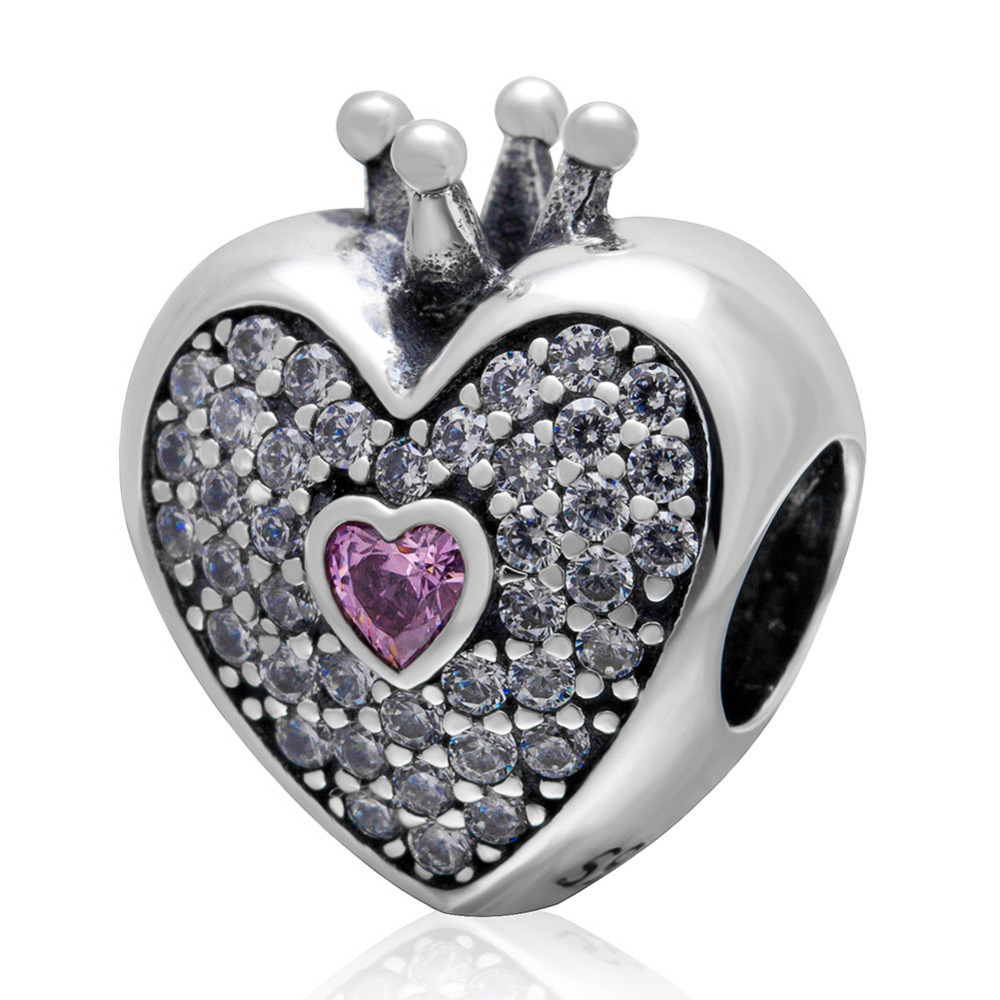 New Cubic Zirconia Crown Heart Beads Original 925 sterling silver DIY Jewelry Fit Pandora Charms Bracelets