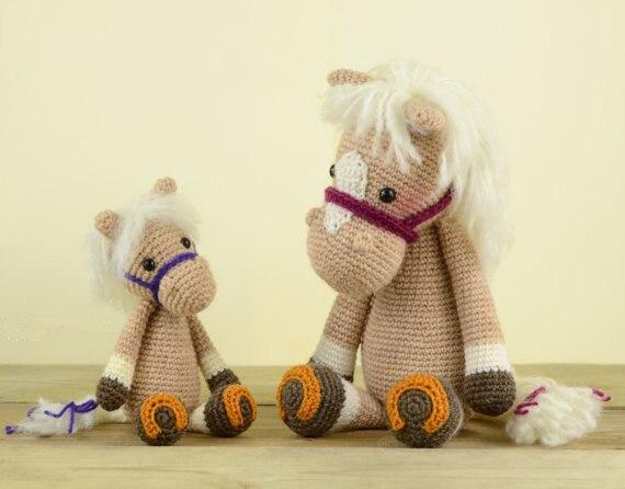 Gehaakte Paard baby rammelaar speelgoed pop gift 4