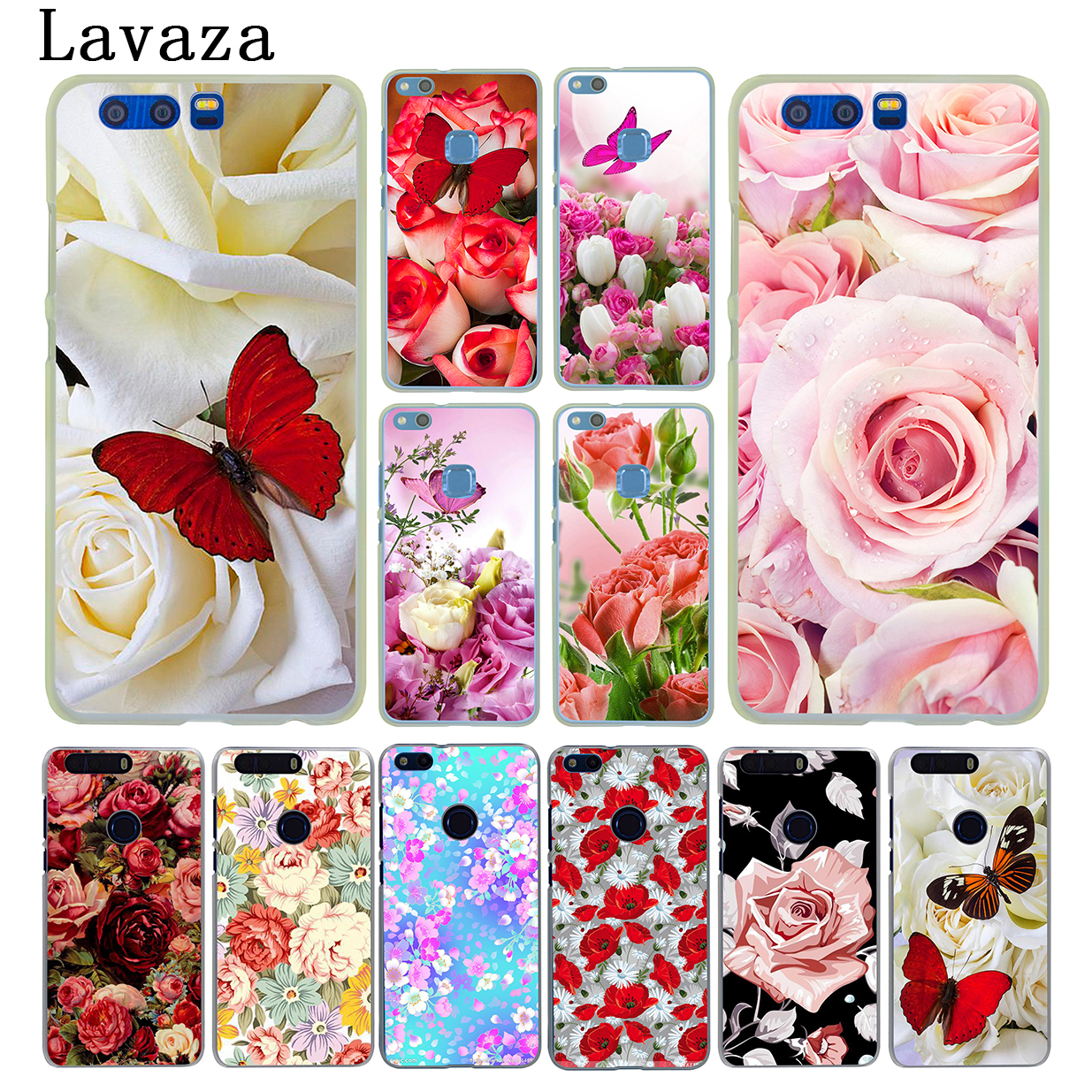 Lavaza Red butterfly on white roses flower Hard Case for Huawei Y7 Y6 Y5 Y3 II 2017 G7 & Honor 9 8 Lite 7 7X 6 6A 4C 4X Cover