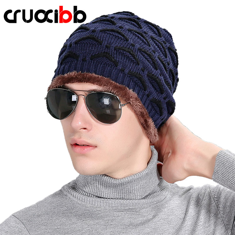 CRUOXIBB New Brand Beanies Knit Men'S Winter Hat Caps Solid Skullies Bonnet Hats For Men Beanie Warm Outdoor Baggy Knitted Gorro new winter beanies solid color hat unisex warm grid outdoor beanie knitted cap hats knitted gorro caps for men women