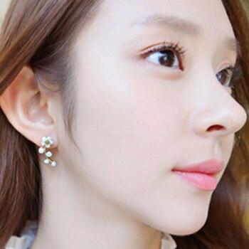 Crystal Flower Double Sided Gold Silver drop earrings For Women fashion Jewelry  5