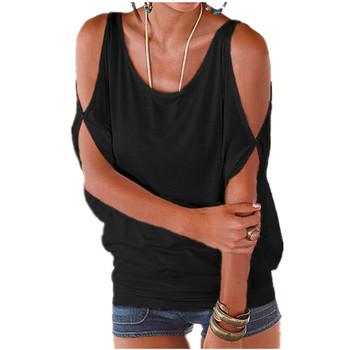Kobiety letnie koszulki 2020 luźna koszulka Sexy Off Shoulder topy Batwing z krótkim rękawem zasznurować stałe O-neck Lady luźne góra Tees tanie i dobre opinie HiloRill Poliester COTTON Batwing rękawem QIN24 REGULAR Hollow out Suknem Na co dzień S M L XL XXL Loose tops for women