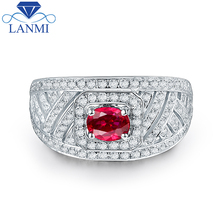 Wholesale 14K White Gold Red Ruby Ring Natural Diamond for Women Anniversary Fine Jewelry Gift Free Shipping