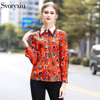 SVORYXIU Women's Spring Designer Brand Blouse High Quality Long Sleeves Floral Printing Orange Shirt Tops 2018