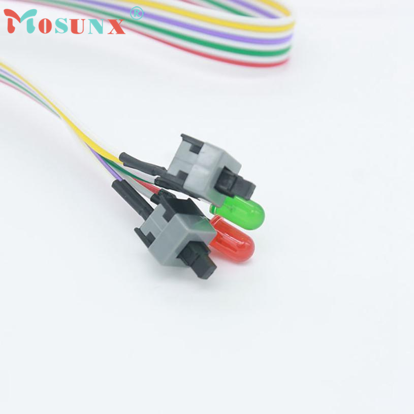 Cable High Quality ATX PC Compute Motherboard Power 2 Switch On/Off/Reset with LED Light 68cm Cabo 17July4 g126y 2pcs red led light 25 31mm spst 4pin on off boat rocker switch 16a 250v 20a 125v car dashboard home high quality cheaper