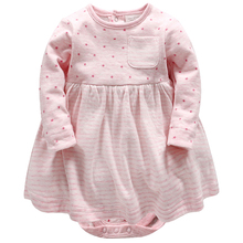 Vlinder 2018 New Fashion Baby Girls Spring Autumn Dresses Cute Pink Stripes Five Pointed Star Cotton Long Sleeves Infant