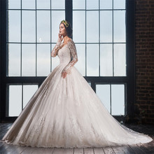 TPSAADE Long Sleeve Ball Gown Wedding Dress Bridal Gown