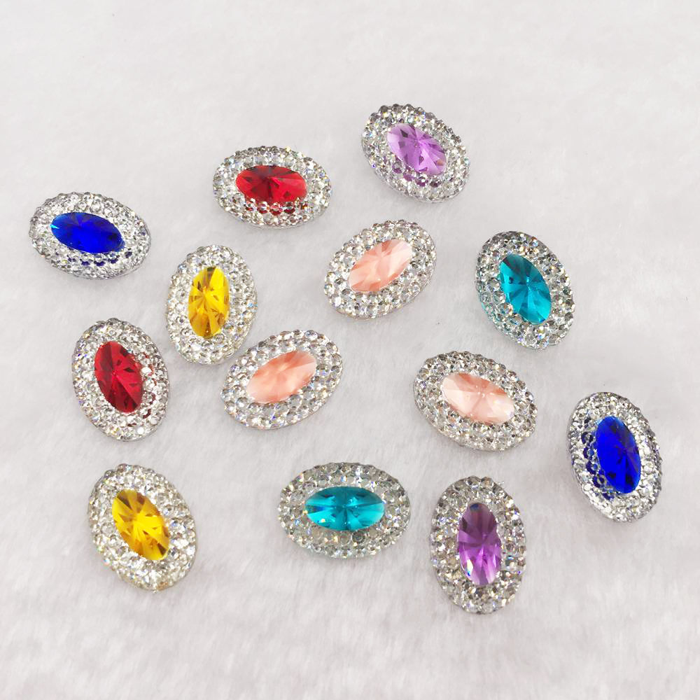 NEW 60PCS  Resin 10*14mm Oval Flatback  Crystal Rhinestone Ornaments Jewelry Making Supplies DIY PW36
