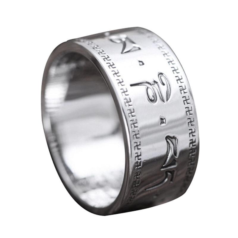 c223945bb15e0e 999 Pure Silver Buddha Jewelry Six Words Mantra Ring For Men And Women  Engraved Heart Sutra Chinese Word