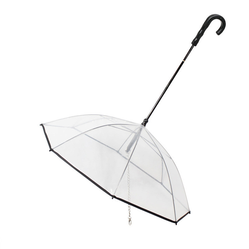 Transparent PE Pet Umbrella Small Dog Umbrella Rain Gear with Dog Leads Keeps Pet Dry Comfortable in Rain Snowing