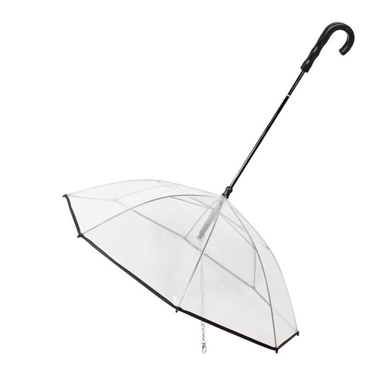Transparent PE font b Pet b font Umbrella Small Dog Umbrella Rain Gear with Dog Leads