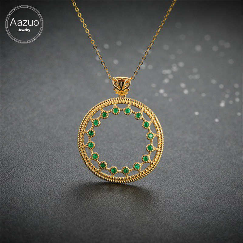 Aazuo Original 100 18K Yellow Gold Natural Emerald Green Stones Classic Round Free Pendent Necklace gifted