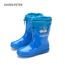 Children's rubber boots for girls boys kids rain boots PVC non-slip waterproof with cotton sets baby boots outdoor shoes Botas